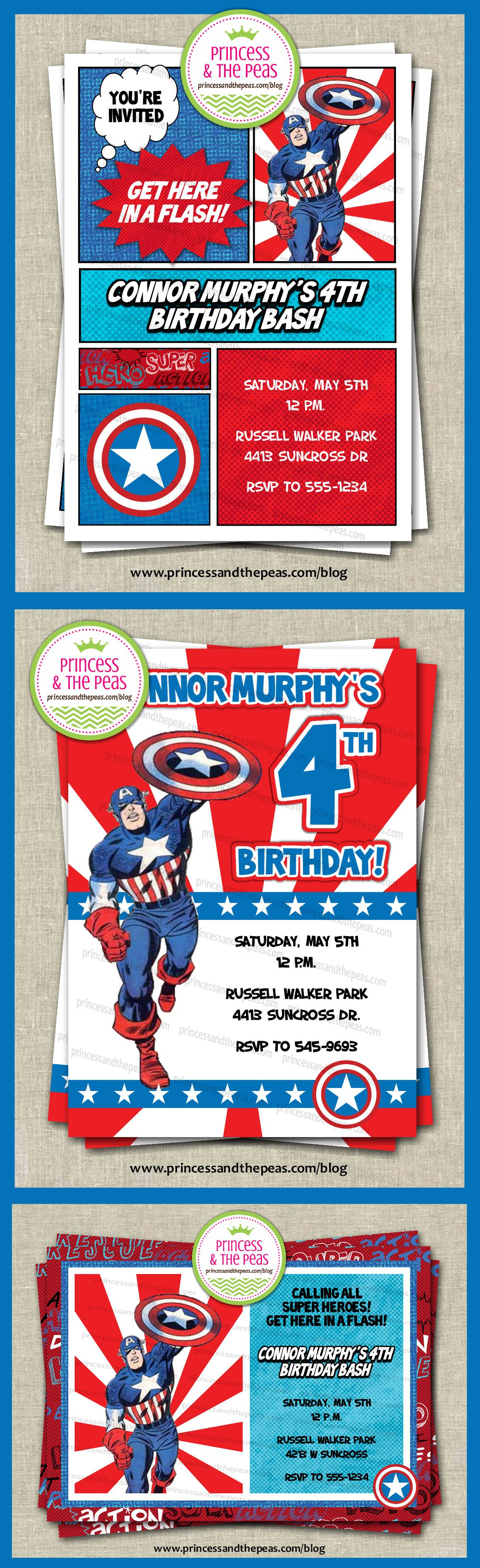 captain america personalized party invitations | captain america, Party invitations
