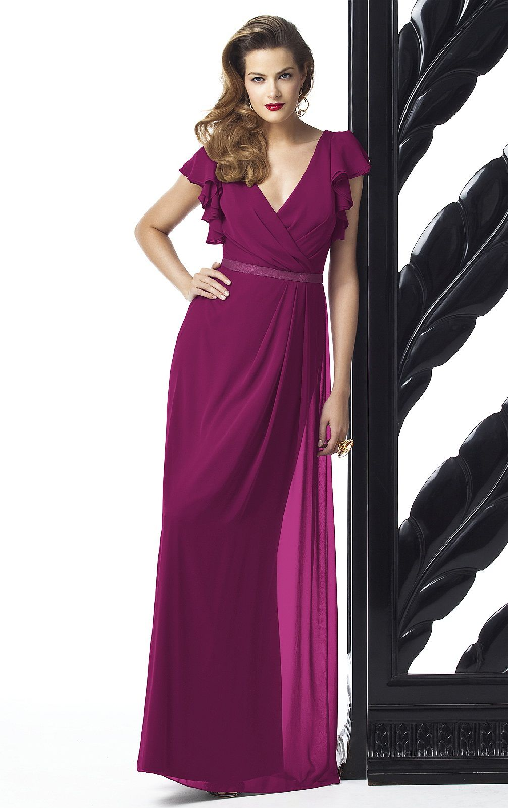 Deep V-neck Natural Sheath Chiffon Zipper Bridesmaid Dresses ...