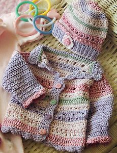 b0d6980bec4 Vintage crochet pattern baby re-born doll beautiful jacket   hat ...