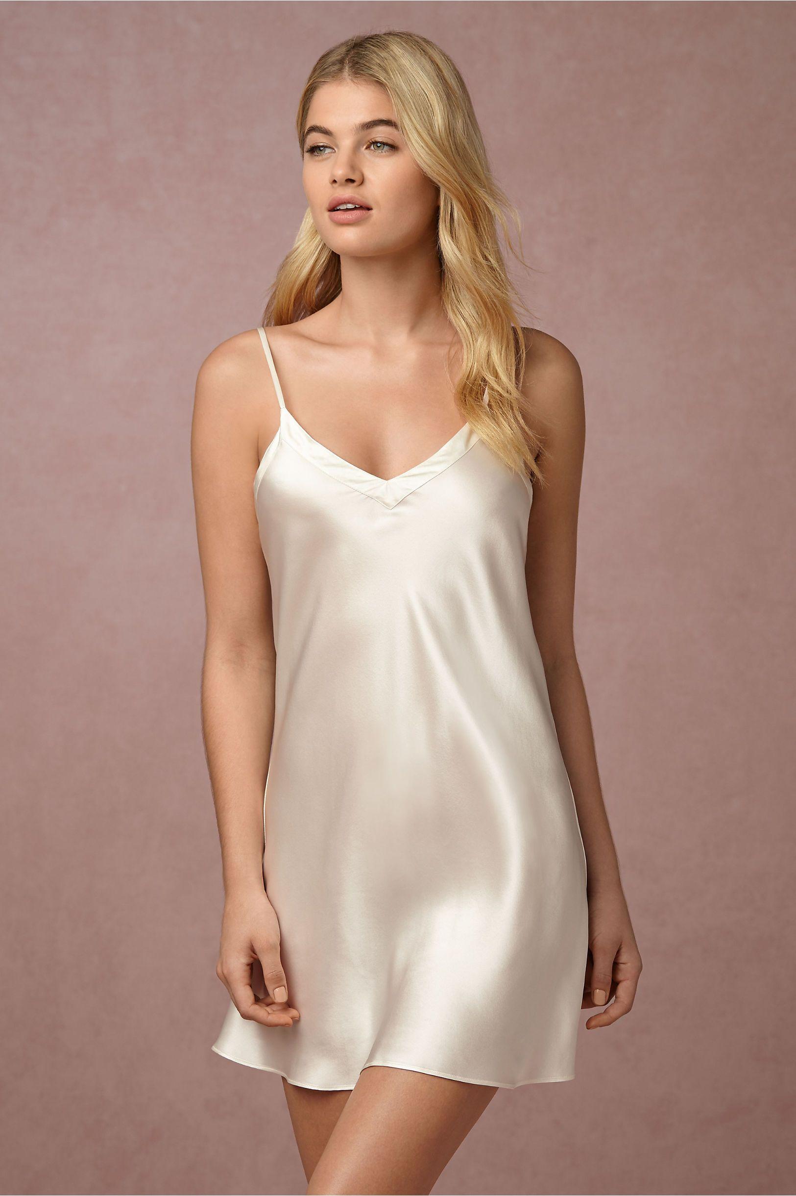 BHLDN Alma Silk Chemise in Bride Bridal Lingerie  98ccc45e7