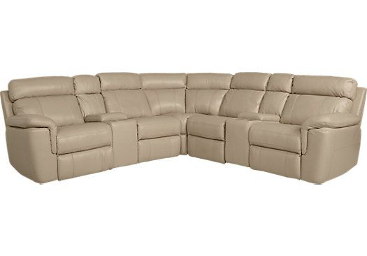 Terrific Hudson Square Sand Leather 7 Pc Reclining Sectional Bralicious Painted Fabric Chair Ideas Braliciousco