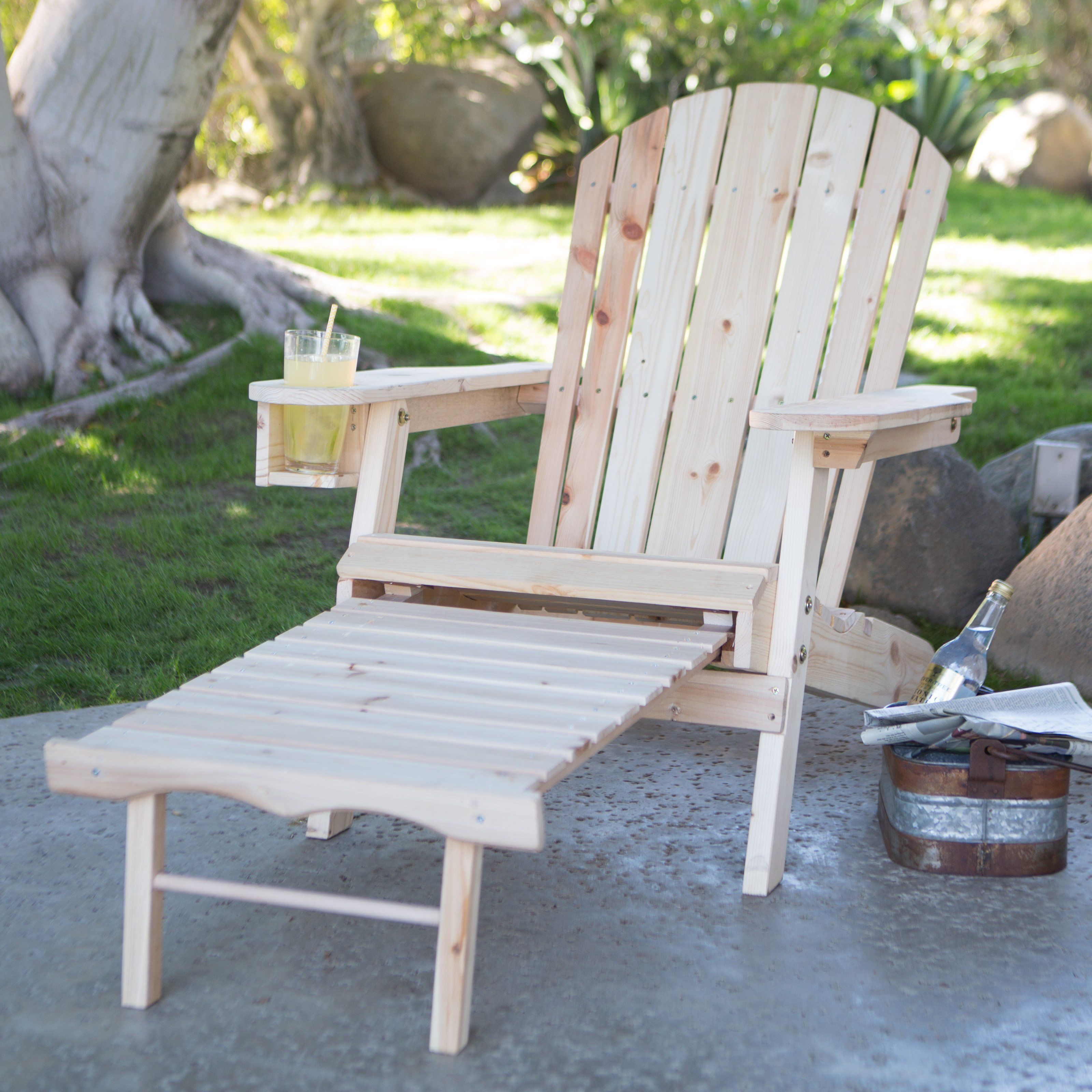 Coral Coast Big Daddy Adirondack Chair With Pull Out Ottoman And Cup Holder    Unfinished   The Coral Coast Natural Stained Adirondack Chair With  Pull Out ...