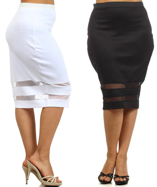 SUPER SEXY PLUS SIZE PENCIL SKIRT Knee Length Sexy Sheer Mesh ...