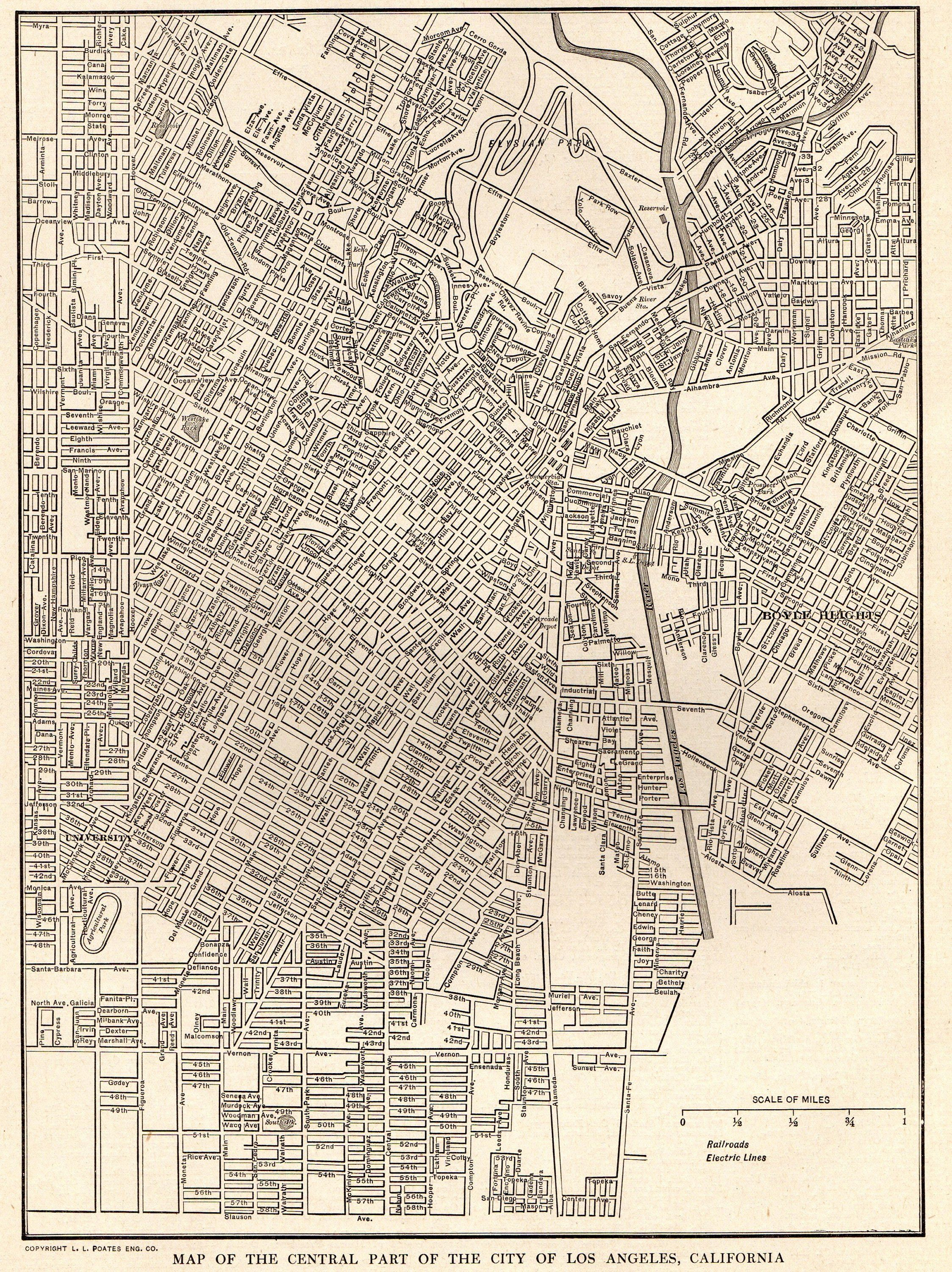 1923 Antique Los Angeles City Map Street Map Of Los Angeles Etsy Los Angeles Map Street Map California Map