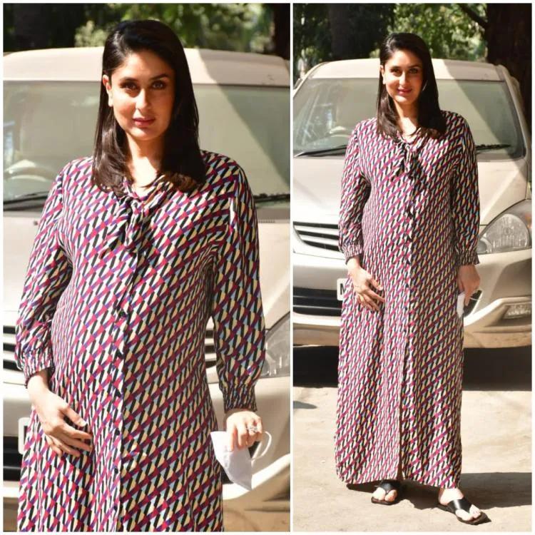 Kareena Kapoor Khan Proves Her Love For Maxi Dresses Yet Again As She Rocks A Printed Zara Dress Yay Or Nay In 2021 Kareena Kapoor Khan Zara Dresses Maternity Shirt Dress