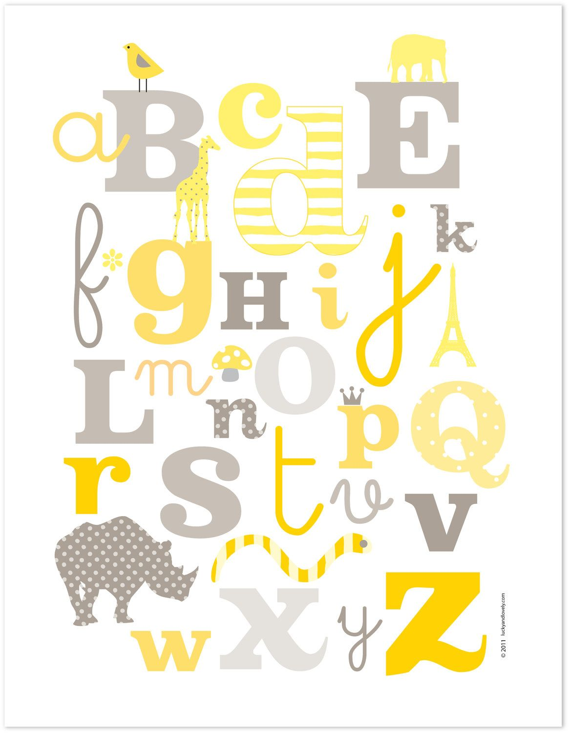 Modern Kids Alphabet Print - Yellow & Grey by Lucky and Lovely ...