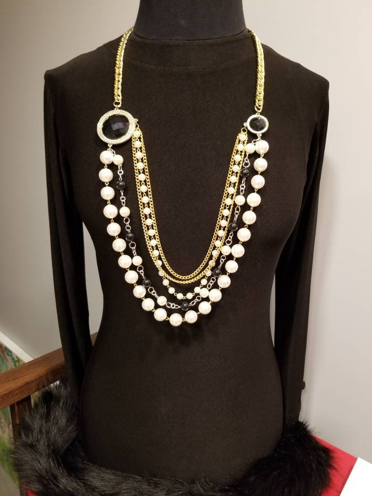 Chanel Necklace Chanel Vintage Long Gold Jewelry Chanel Inspired