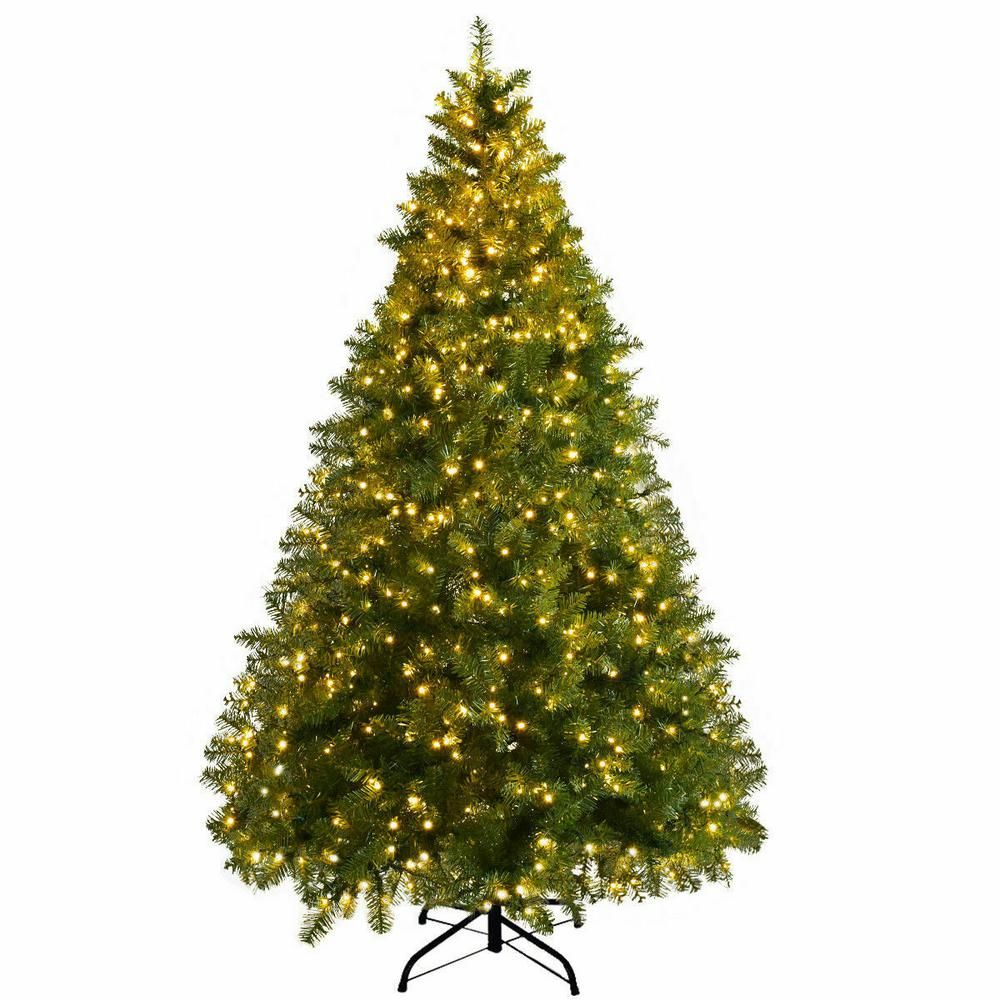 Costway 8 Ft Pre Lit Dense Pvc Christmas Tree Spruce Hinged With 880 Led Lights And Stand Cm20716 The Home Depot Pre Lit Christmas Tree Led Christmas Tree Lights Artificial Christmas Tree