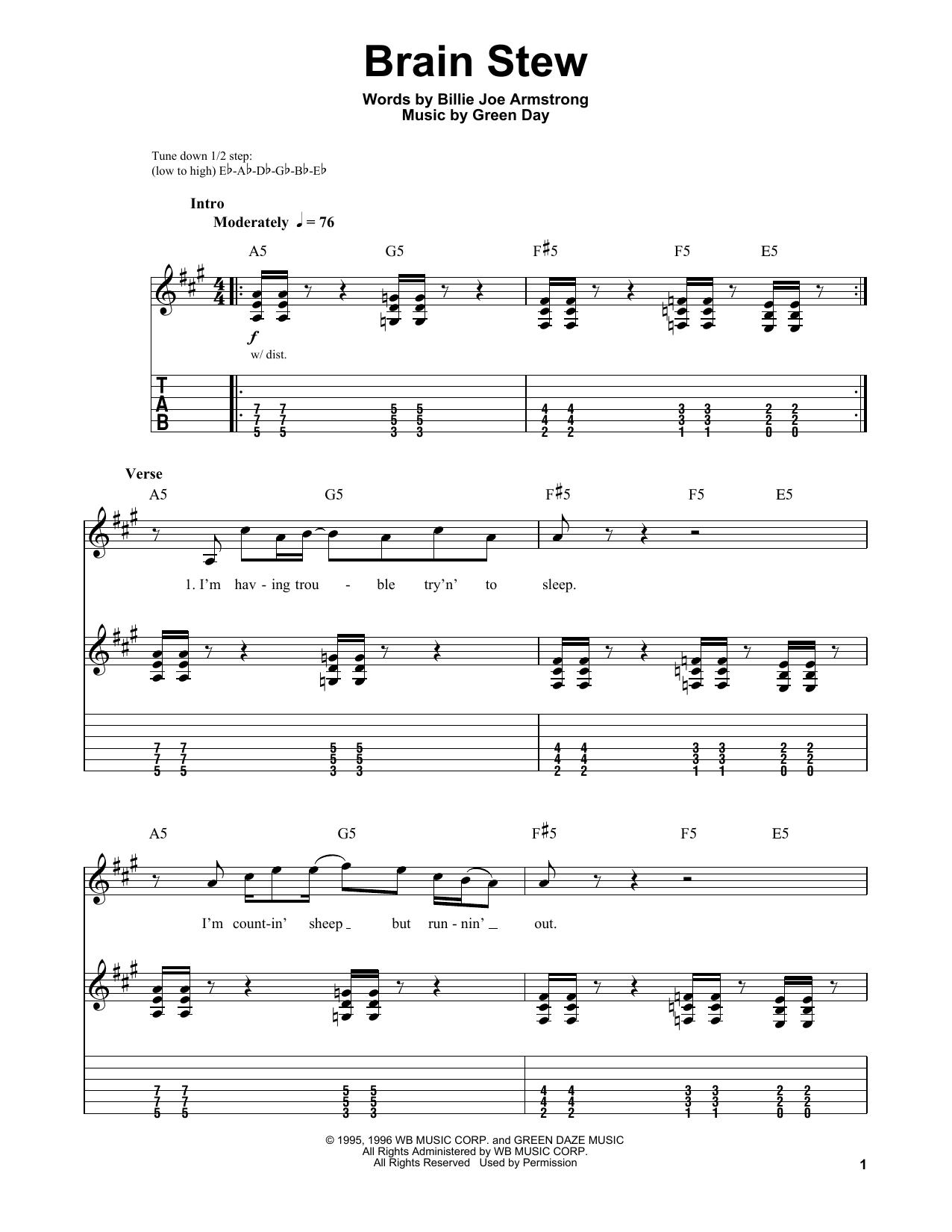 Green Day Brain Stew Sheet Music Notes Chords Score Download Printable Pdf Sheet Music Notes Sheet Music Green Day