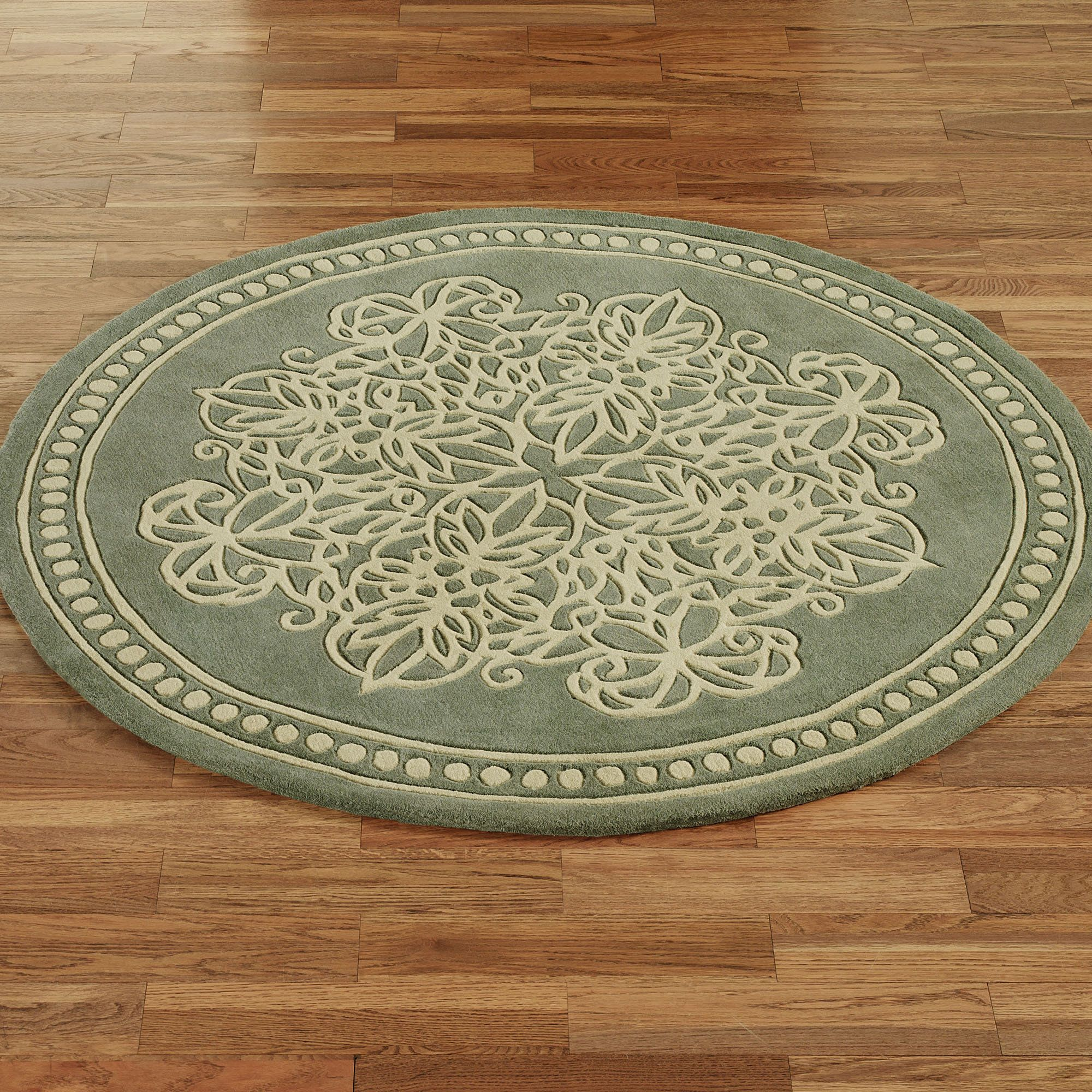 Floia Lace Wool Round Area Rugs