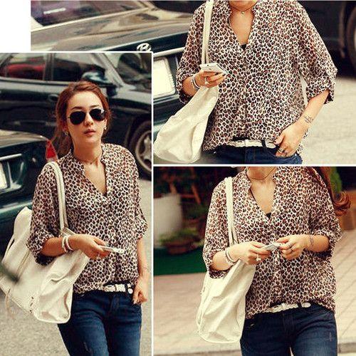 2013 Women's Chiffon Sexy Casual Leopard Print Shirt Top Button Down Blouse L | eBay