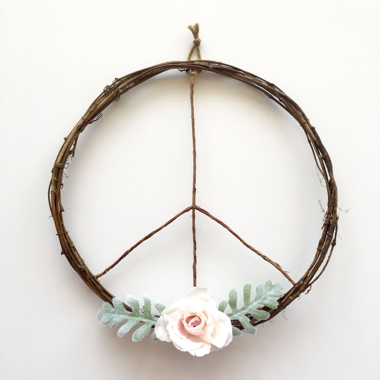 Hippie Chic Wall Decor : Peace sign wreath boho chic