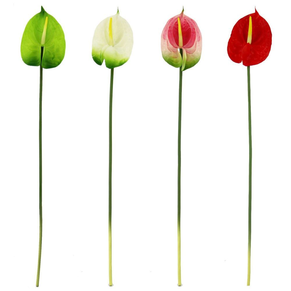 Real Touch Single Anthurium Artificial Silk Flowers Long Stem Water Lilly Artificial Silk Flowers Tropical Flower Plants Artificial Flower Arrangements