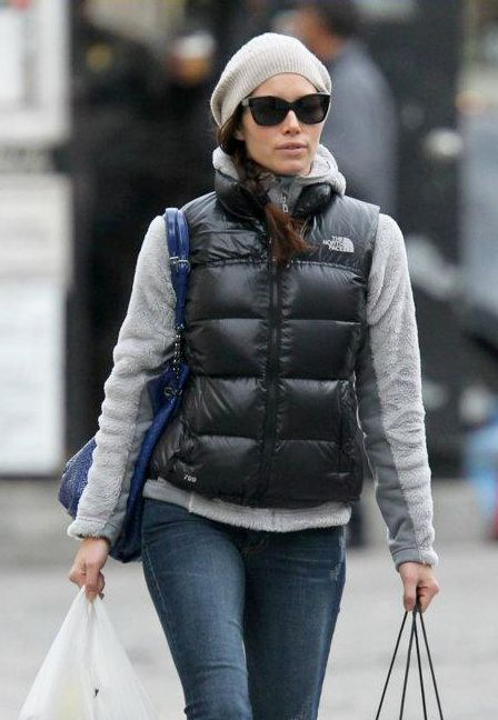 Jessica Biel In Black The North Face Novelty Nuptse Down