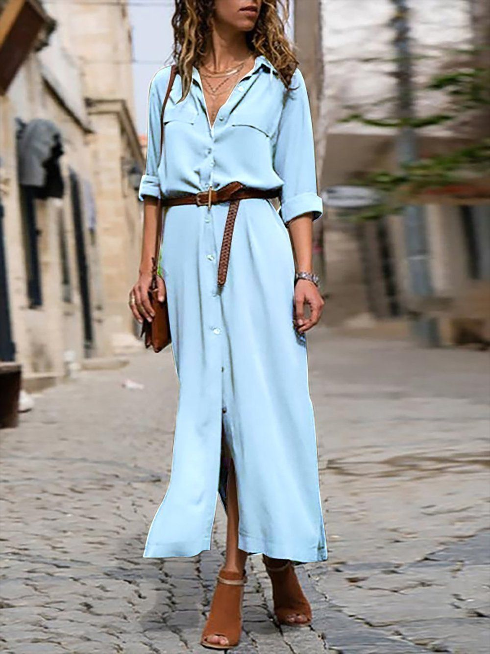 Woman Elegant Long Dress Casual 3 4 Sleeve Shawl Collar Casual Dress Summer Dresses For Women Long Dress Casual Elegant Dresses Long [ 1333 x 1000 Pixel ]