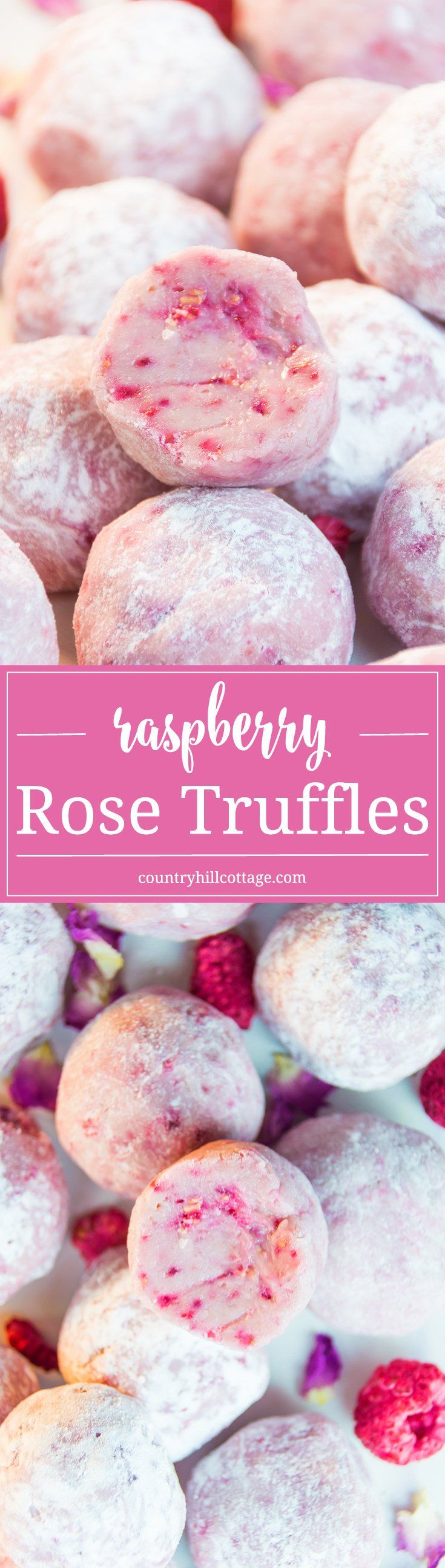 Raspberry Rose Truffles and Cute Favour Boxes #freezedriedraspberries