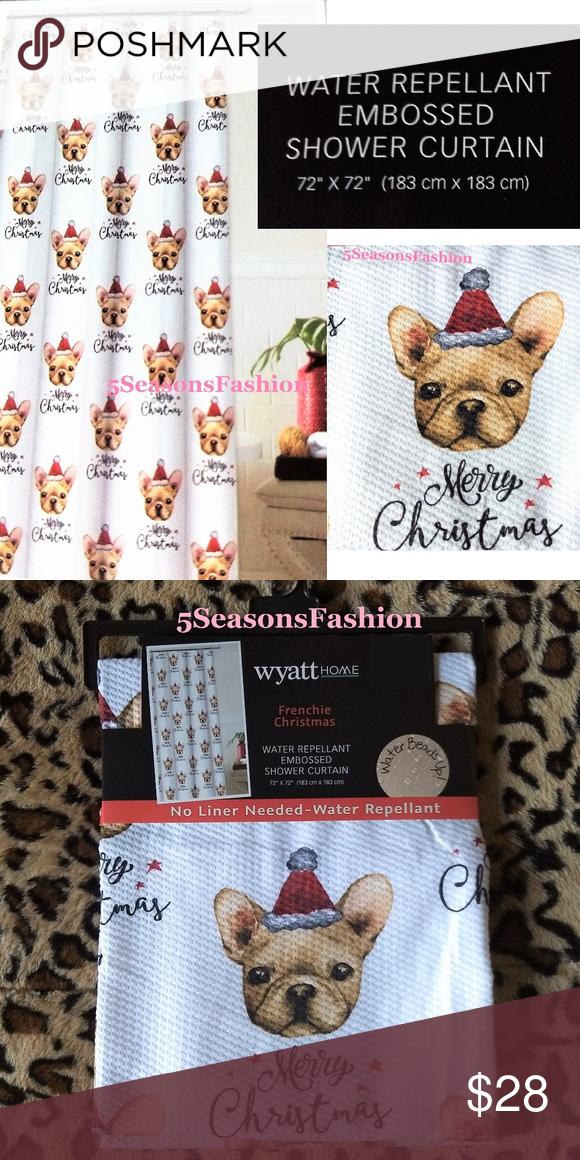 0dd76608b01 Santa Hat · Boston Terrier · French Bulldog · Dog Lovers · Fans · Bathroom  · Water · 🐕 Christmas FRENCHIE Santa Bulldog Shower Curtain 💕BRAND NEW  WITH ...