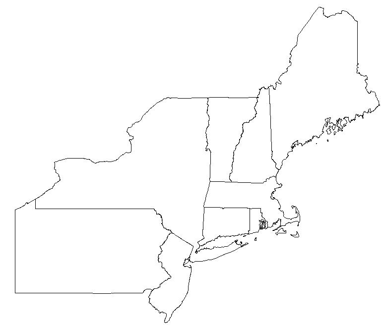 Blank Us Northeast Region Map Usa Map North East Coast