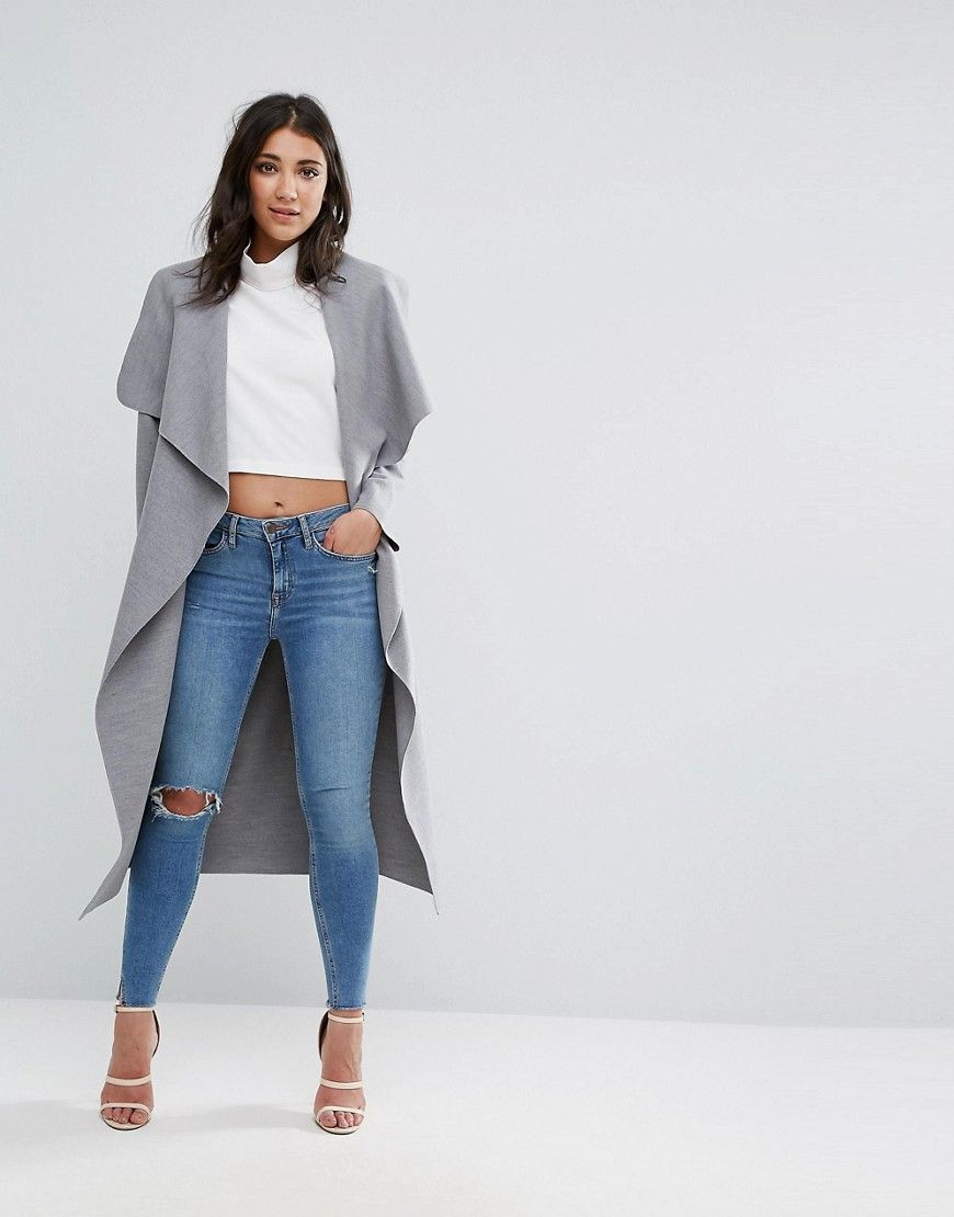 Missguided Gray Oversized Waterfall Duster Coat - Gray