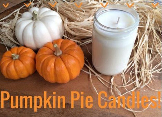 DIY Pumpkin Pie Candle | 10 DIY Soy Candles You Will Love - Calming & Relaxing Handmade Candles Great For Gifts see more at http://diyready.com/diy-soy-candles-10-addictive-scents-you-will-love