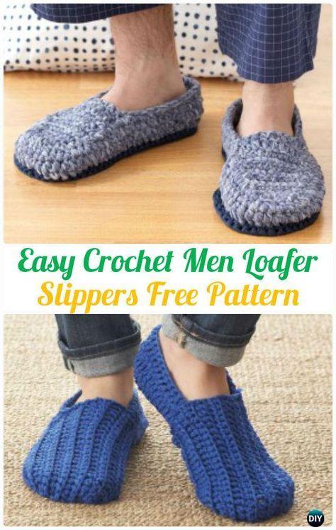 Easy Crochet Men Loafer Slippers Shoes Free Patterns #Crochet ...