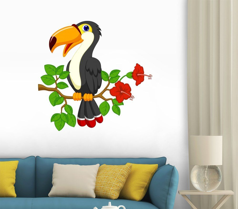 Amazon.com - Cute Toucan Bird Cartoon Wall Decal - 12 Inches W x 12 Inches H - Peel and Stick Removable Graphic - #tukisisland #llpa