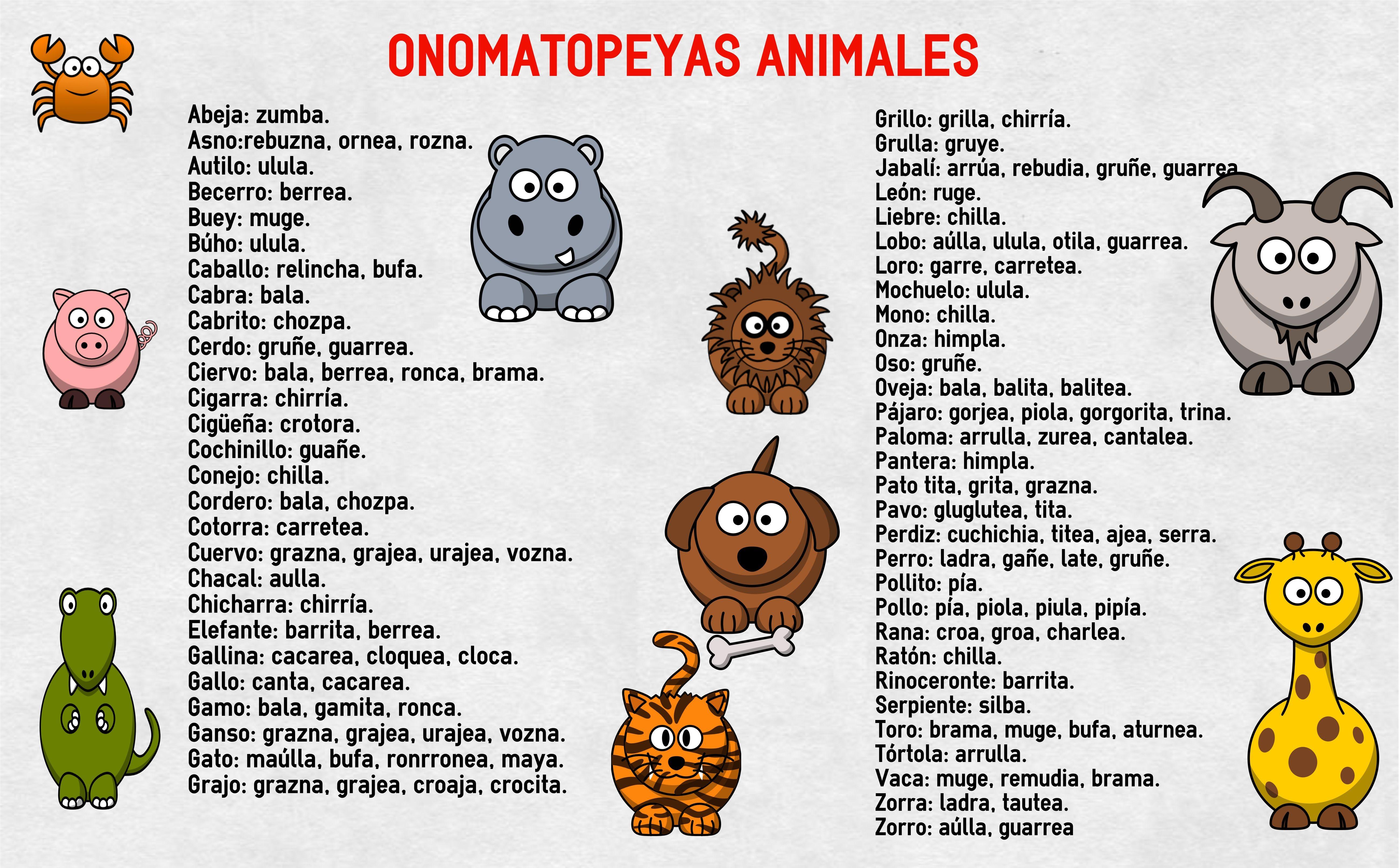 Onomatopeyas Animales Su Nombre Onomatopeyas Animales Onomatopeyas Animales