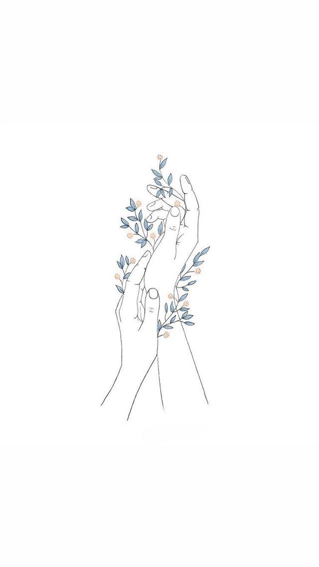 Minimalist Flower Drawing Wallpaper