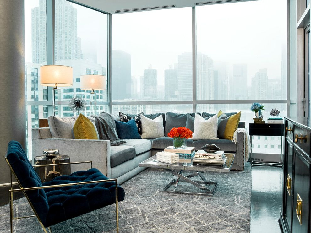 Impressive Microfiber Sectional In Living Room Contemporary With Tufted Chair Next To Alongside Full