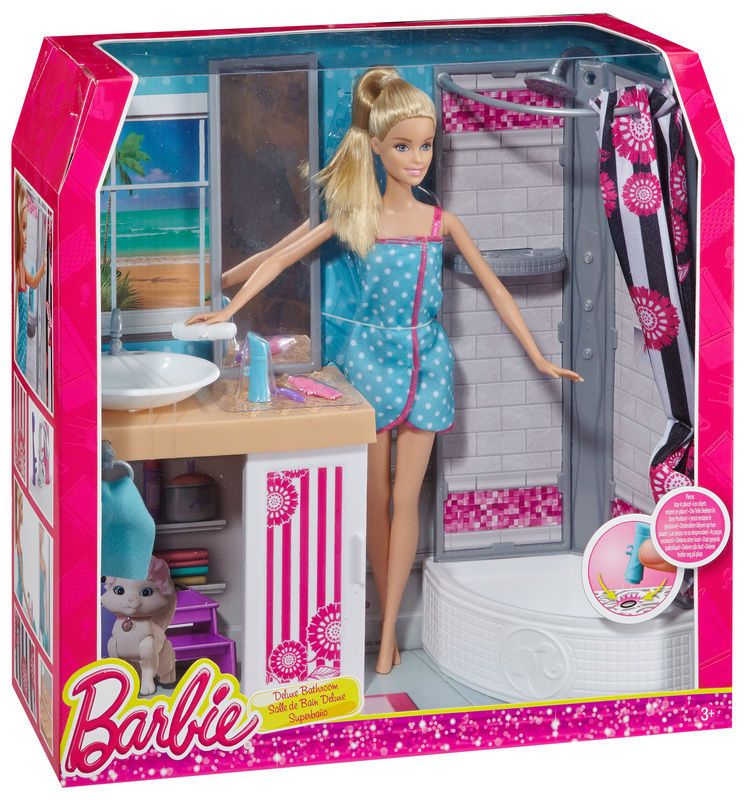 Barbie Doll And Deluxe Bathroom Furniture Accessories Play Set Playset New In Bo