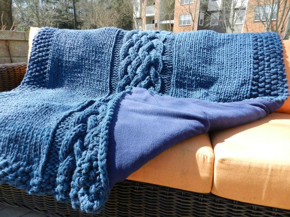 Cable knit throw w/ fleece backing  Cape cod blue by TiffAndEmmy