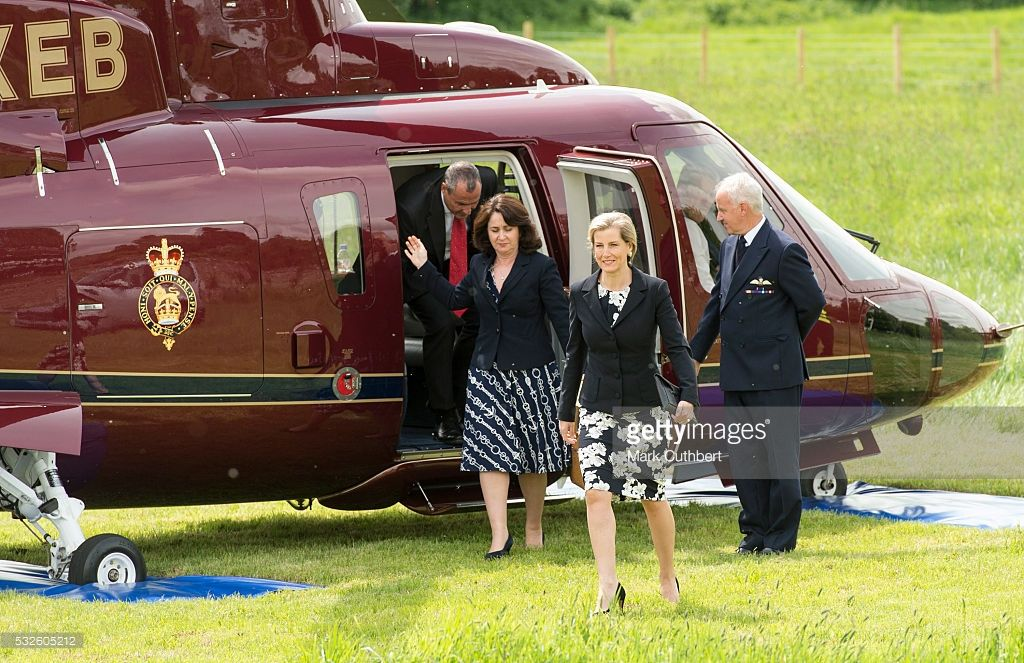 Sophie, Countess of Wessex arrives by helicopter to visit Cogges Manor Farm on May 19, 2016 in Witney, England.
