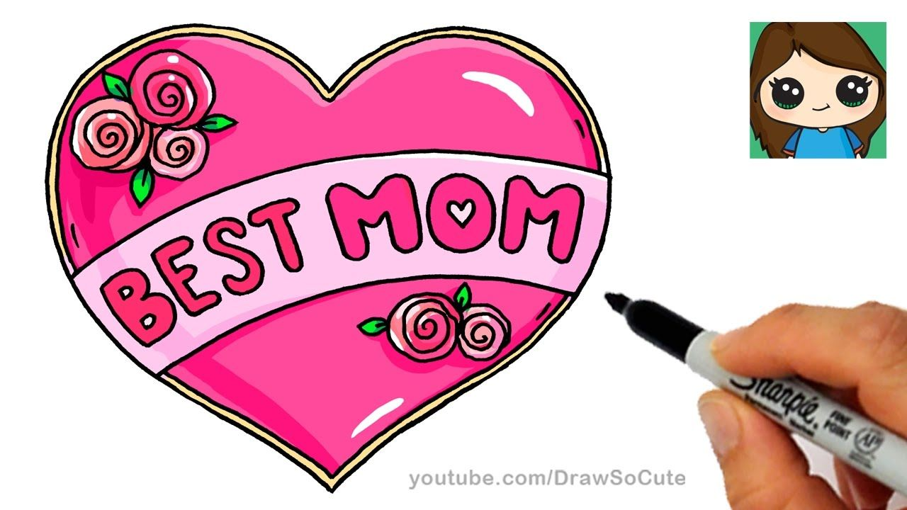 How to Draw Best Mom Bubble Letters and Heart | aubrey\'s drawings ...