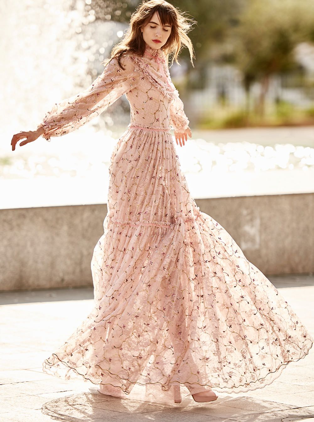 299fc9e50b Costarellos Spring Summer 2018 Collection  br   SS18-40 br   Victorian  Style Long Dress