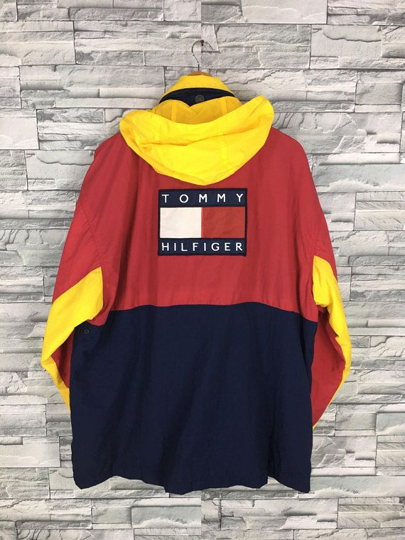 ddbff0a0 TOMMY HILFIGER Jacket XLarge Vintage 90's Sportswear Tommy Colorblock  Hoodie Tommy Athletic Trainer