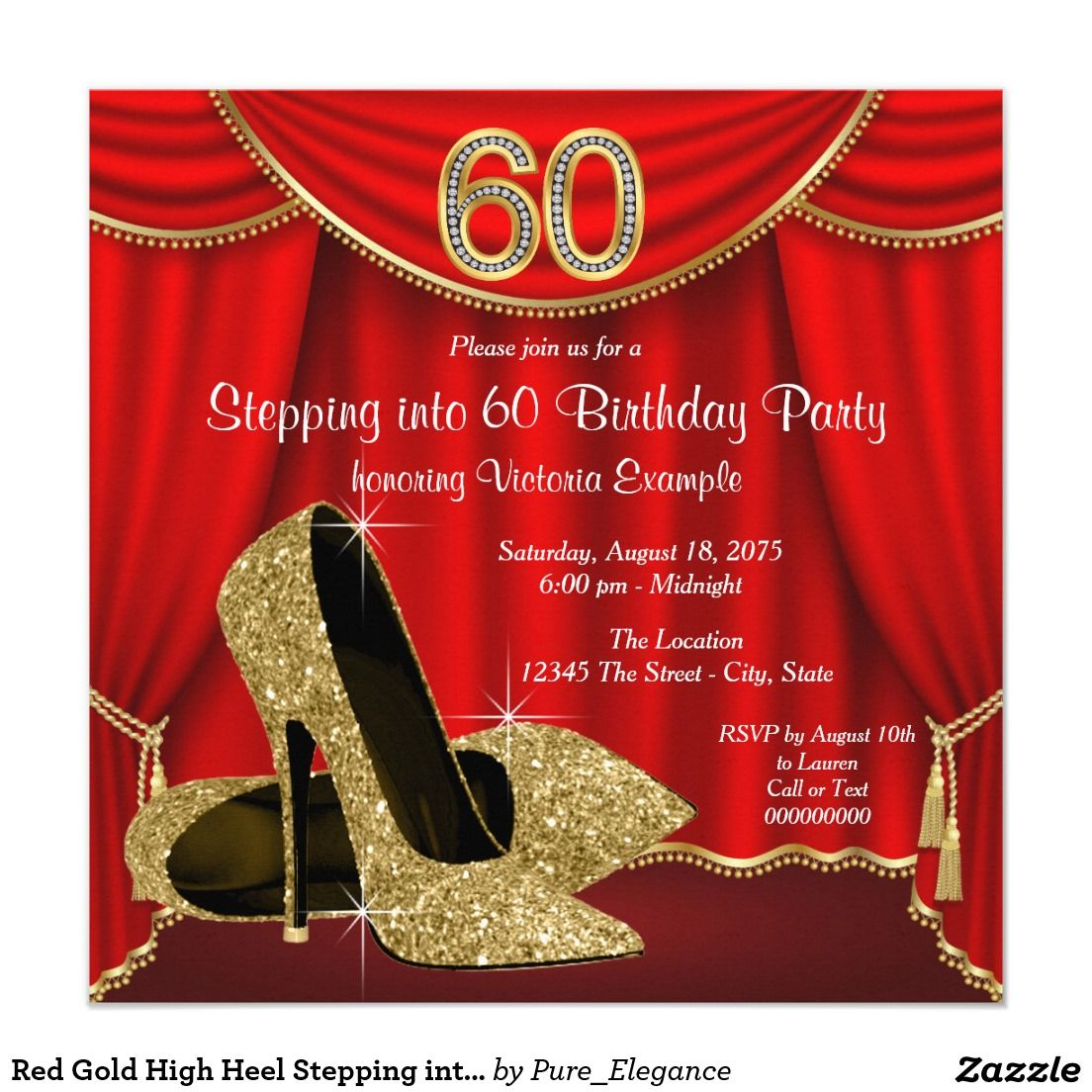Red Gold High Heel Stepping into 60 Birthday Party Card | Red gold ...