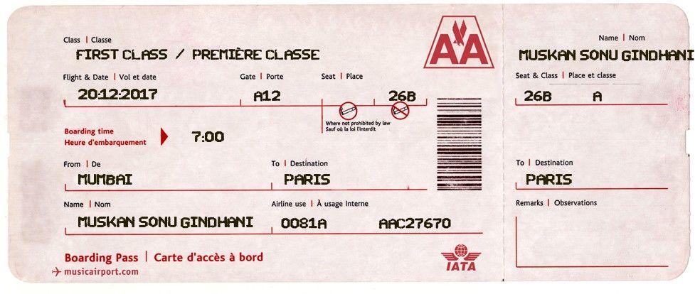 Flight ticket first class tickets ticket generator