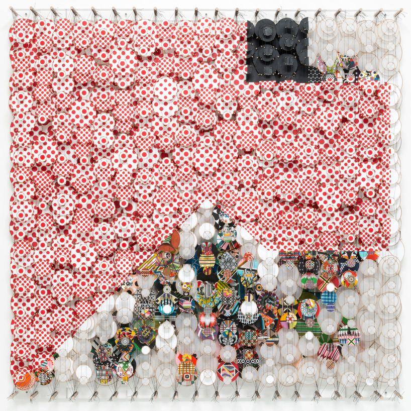 near the edge of the world - layered kite installation by jacob hashimoto