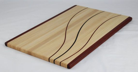 Wenge, Hickory & Bloodwood Butcher Block Cutting Board/Cheese Board