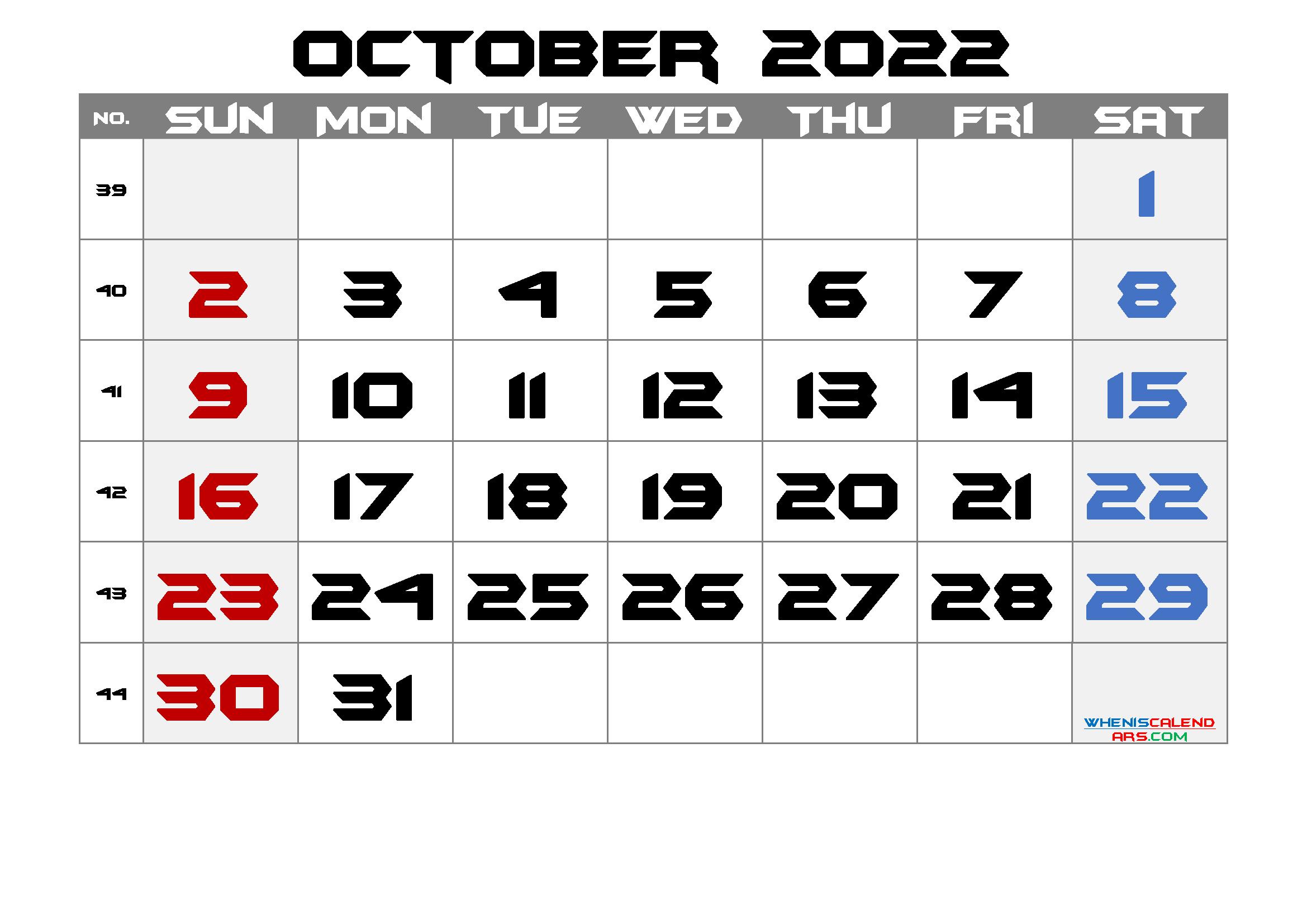 Oct 2022 Calendar Printable.Free Printable Calendar 2022 October 6 Templates Calendar Printables Monthly Calendar Printable 2021 Calendar