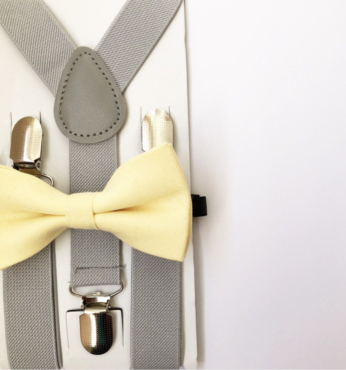 Awesome Yellow Color Wedding Accessories Adjustable Bow Tie /& Suspenders