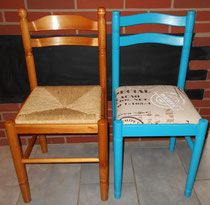 Pour relooker des chaises en bois rien de tel qu 39 un peu d - Relooker chaise bois ...