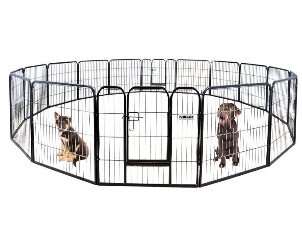 Petdanze Dog Pen Metal Fence Gate Portable Outdoor Heavy