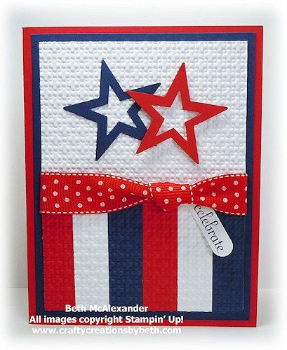 homemade 4th of july card red white and blue die cut star