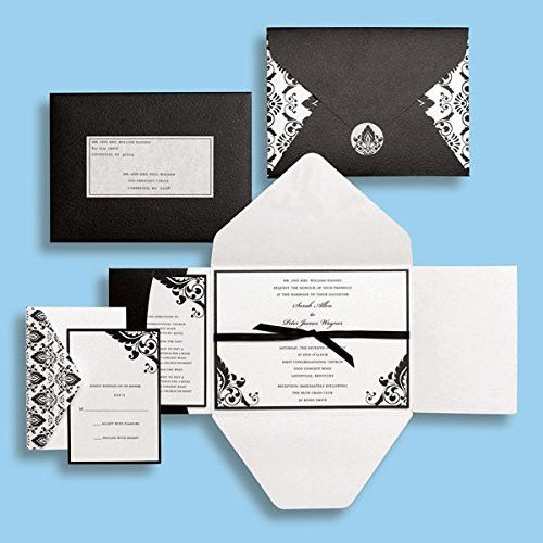black and white damask wedding invitations kit - brides magazine, Wedding invitations