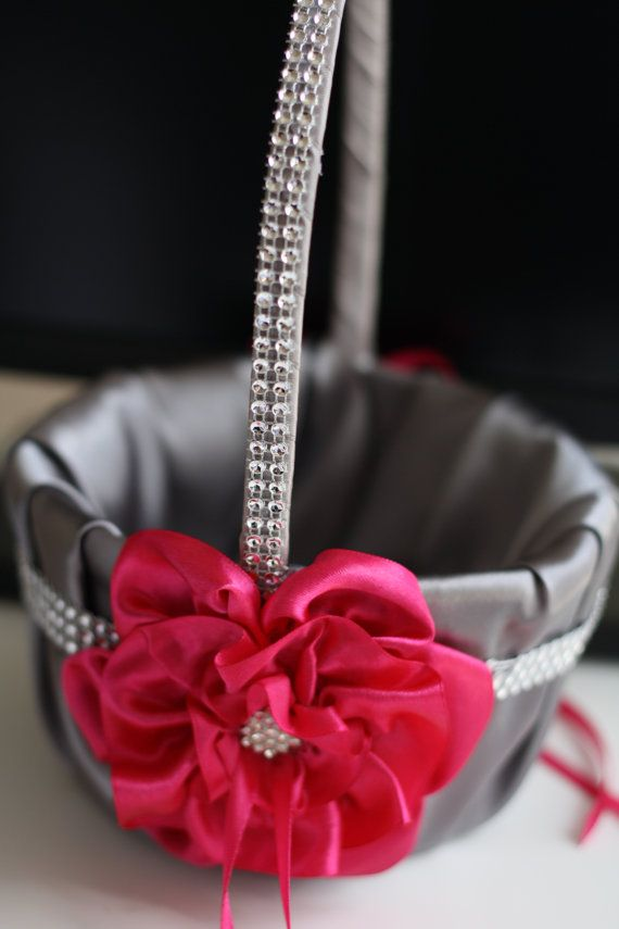 Fuchsia flower girl basket with brooch gray satin gray wedding fuchsia flower girl basket with brooch gray satin gray wedding basket with fuchsia flower mightylinksfo Images