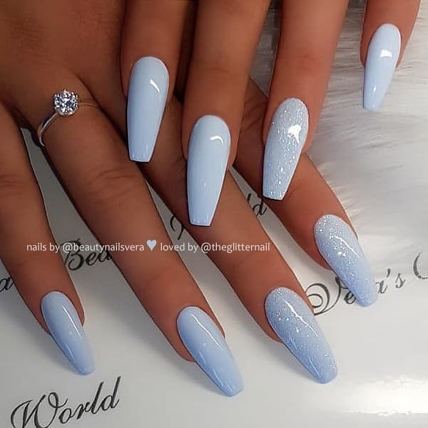 Baby Blue with Glitter on Coffin Nails 👌 • 💅 Nail Artis ...