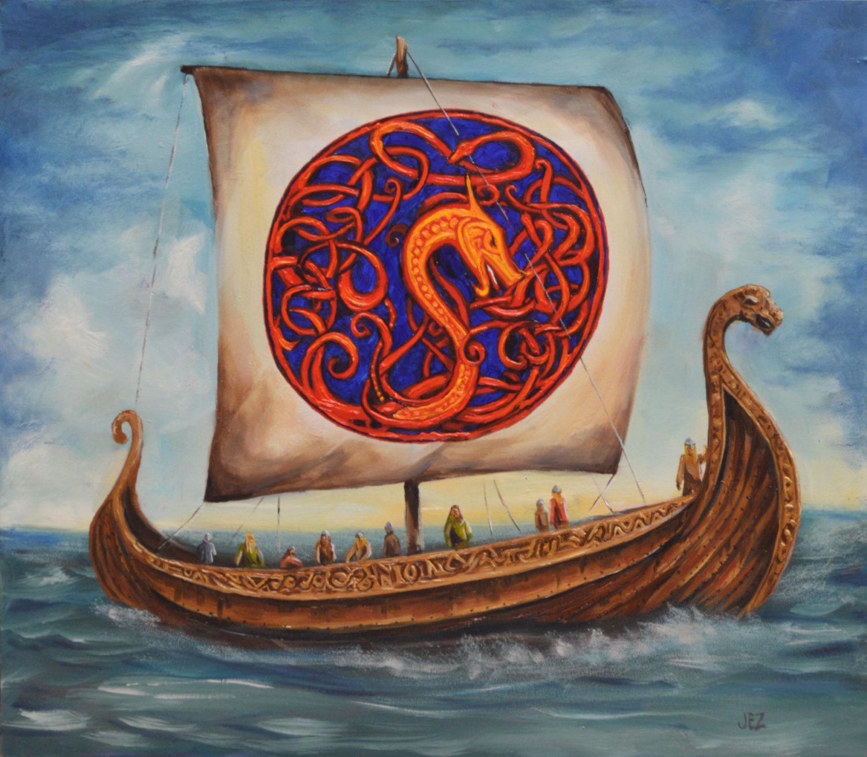 homecoming original viking ship oil painting by jezart on etsy