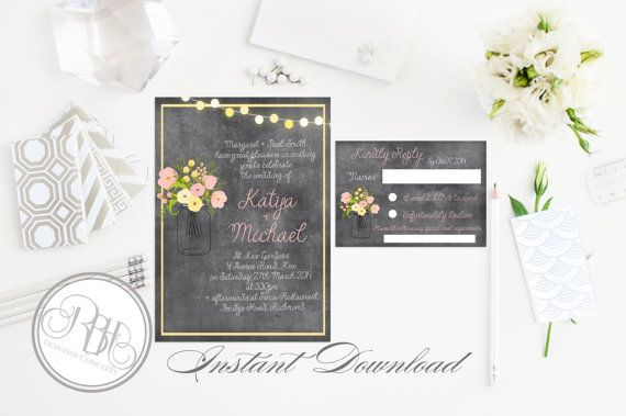 Instant Download-Template Invitation & Reply/Rsvp-Rustic Chalkboard ...