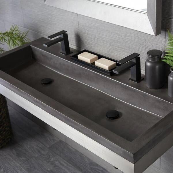 Photo of Trough 48-inch NativeStone Undermount/ Drop-in Double Bathroom Sink – 48″ x 19″ x 5″